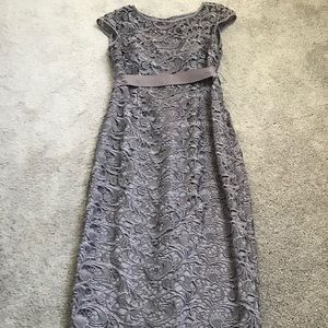 Adrianne Papell Gray Lace Formal Dress